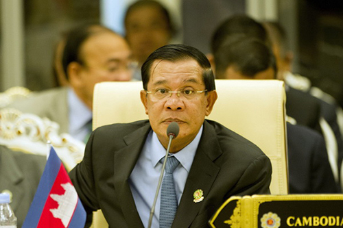Cambodia's Prime Minister Hun Sen takes part in the 17th ASEAN-China Summit at the Myanmar International Convention Center in Myanmar's capital Naypyidaw on November 13, 2014. The Association of Southeast Asian Nations (ASEAN) and East Asia summits, held in the purpose-built capital of Naypyidaw this week, are the culmination of a year of diplomatic limelight for Myanmar after long decades shunted to the sidelines under its former military rulers.    AFP PHOTO / YE AUNG THU        (Photo credit should read Ye Aung Thu/AFP/Getty Images)